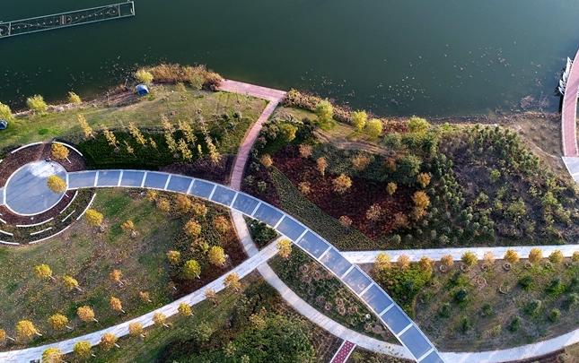 【航拍】河南許昌:初冬時節 芙蓉湖畔景色美